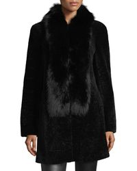 Belle Fare | Shearling Coat W/fox Fur Trim | Lyst