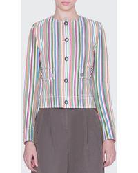 Akris Punto Striped Denim Button-front Jacket - Blue