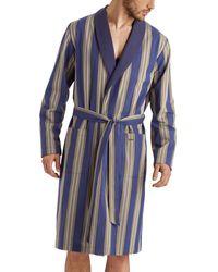 Hanro Men's Night & Day Striped Cotton Robe - Blue