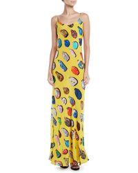 Libertine - Bottle-print Spaghetti-strap Silk Slip Dress - Lyst