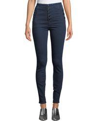 J Brand Natasha Sky-high Super Skinny Ankle Jeans - Blue