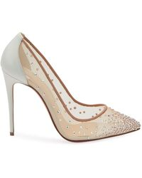 Christian Louboutin Follies Strass 100mm Mesh Red Sole Pumps - White