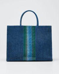 Nancy Gonzalez Double-handle Linen Large Tote Bag - Blue