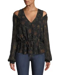 PAIGE - Carmona Printed Cold-shoulder Blouse - Lyst