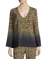 Etro - Ombre Leopard-print Silk V-neck Top - Lyst