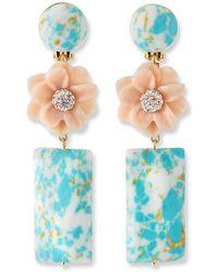 Lele Sadoughi Gardenia Drop Earrings - Blue