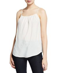 7 For All Mankind Square-neck Shirred Camisole - White