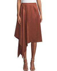Palmer//Harding - Squared Draped Asymmetric Twill Skirt - Lyst