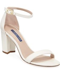 Stuart Weitzman Nearlynude Textured Patent City Sandals - Natural
