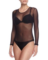 Cosabella Soire Sheer Bodysuit, Black
