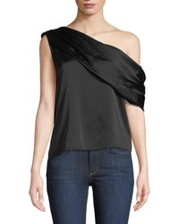 Alice + Olivia - Serita One-shoulder Sateen Drape Tank - Lyst