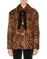 Miu Miu - Bow-detail Button-front Leopard-print Rabbit Fur Coat - a2ef443a16