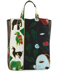 Carven - Faces Printed Tote Bag - Lyst