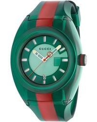 102c37ce479 Lyst - Gucci Sync Unisex Swiss Red And Green Rubber Strap Watch 46mm ...