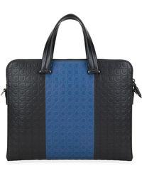Ferragamo Men's Firenze Gamma Two-tone Gancini Briefcase - Black