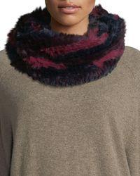 Jocelyn - Long Hair Rabbit Fur Infinity Scarf - Lyst