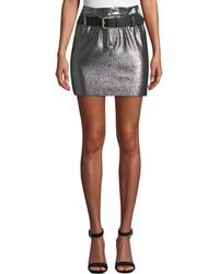 RTA - Marlin Belted Metallic Leather Mini Skirt - Lyst