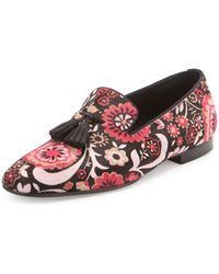Tom Ford Chesterfield Floral-Print Calf Hair Tassel Loafer