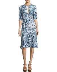 Michael Kors - Floral Bias-cut Keyhole Dress - Lyst