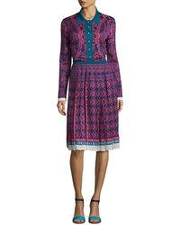 Mary Katrantzou - Knit Jacquard Button-front Sweaterdress - Lyst