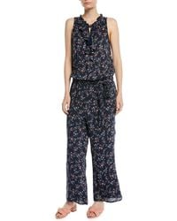 PAIGE - Paletta Floral-print Sleeveless Ruffle Jumpsuit - Lyst