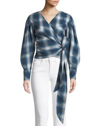 Jonathan Simkhai - Washed Plaid Blouson-sleeve Wrap Top - Lyst