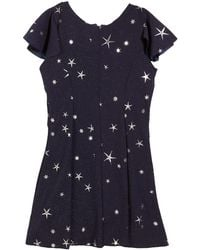 Zoe - Star-print Fit-and-flare Short-sleeve Dress - Lyst