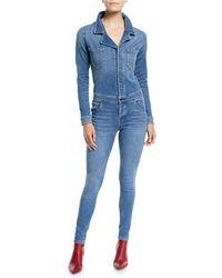 Etienne Marcel Stretch Denim Button-front Jumpsuit - Blue