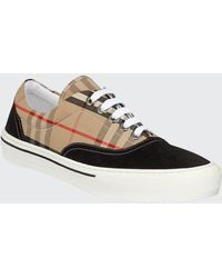 Burberry Wilson Checked Canvas And Suede Sneakers - Multicolour