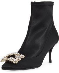 Roger Vivier - Stretch-satin Crystal Buckle Boot - Lyst