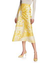 Victoria Beckham High-waisted Silk Midi Skirt - Yellow