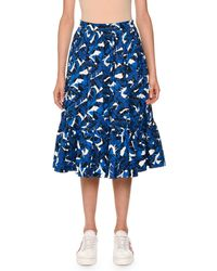 MSGM | Palm-print Pleated Midi Skirt | Lyst