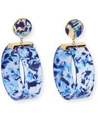Lele Sadoughi Binocular Hoop-drop Earrings - Blue