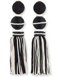 Oscar de la Renta - Two-toned Tassel Drop Clip Earrings - Lyst