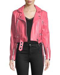 Nour Hammour Zip-front Belted Moto Jacket - Pink