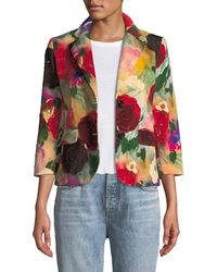 Libertine - Two-button Multi Floral-print Blazer W/ Crystal Beaded Trim - Lyst