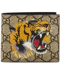 daf1dcf47a3b Gucci Tiger Print GG Supreme Wallet for Men - Save 11% - Lyst