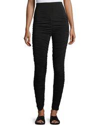 Norma Kamali | High-waist Shirred Jersey Leggings | Lyst