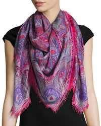 Liberty - Hera Feather-print Cashmere & Silk Square Scarf - Lyst