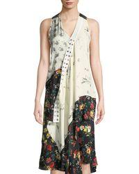 Derek Lam - Sleeveless Mixed-print Asymmetric Silk Top - Lyst