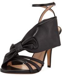 Valentino Large Bow Leather Sandal - Black