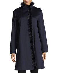 Fleurette - Modern Stand-collar Dress Coat W/ Mink Trim - Lyst