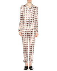 Prada - Lipstick-print Silk Pyjama Set - Lyst