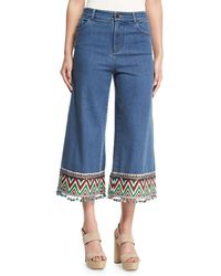 Alice + Olivia - Beta Embroidered Pom-pom Hem Cropped Jeans - Lyst