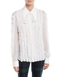 47208fe08dc6a Michael Kors - Long-sleeve Button-down Ruffled Silk Blouse - Lyst