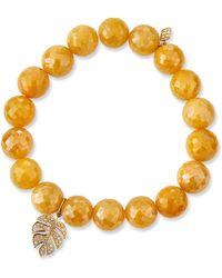 Sydney Evan - Yellow Silverite & Diamond Monstera Leaf Bracelet - Lyst