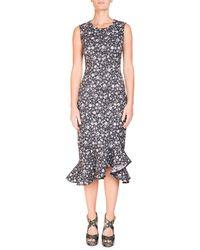 Erdem - Louisa Floral-print Sleeveless Fitted Midi Dress With Flounce Hem - Lyst