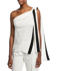 Narciso Rodriguez - One-shoulder Silk Blouse With Ribbon Ties - Lyst