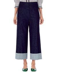 Carolina Herrera - Denim Wide-leg Pants - Lyst