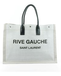Saint Laurent Noe Cabas Large Rive Gauche Canvas Tote Bag